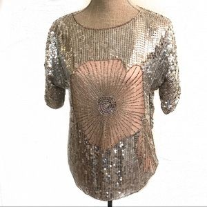 Vintage silver and blush pink Sequin top blouse